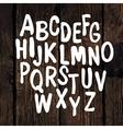 Hand drawn alphabet wooden texture vector