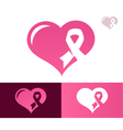 Pink ribbon heart awarness icon vector