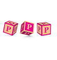 Letter p wooden alphabet blocks vector