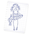 Sketch fashion girl vector