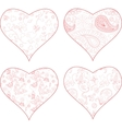 4 heart silhouettes vector