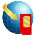 Sim card with globe and arrow vector