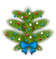 Decorated abstract christmas tree with glass balls vector