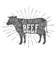 Vintage premium beef typographic label vector