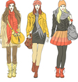 Fashion stylish girls in warm clothes vector