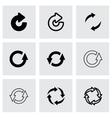 Black refresh icon set vector