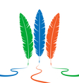 Three colored feathers vector
