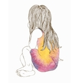 Little girl in a watercolor dress sitting vector