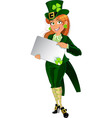 Leprechaun with placard for text vector