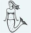 Cute mermaid with curly hair vector