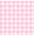 Tile pink plaid pattern with white hearts vector