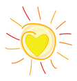 Sun and heart in center vector
