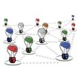 Brain light bulb net work vector