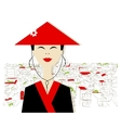 Asian woman on city background for your design vector