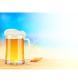 Mug of light beer on summer sea blurred background vector