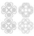 4 celtic designed four-leave clovers vector