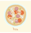 Regular pizza on a plate vector