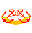 Emblem two crossed anchors flag vector