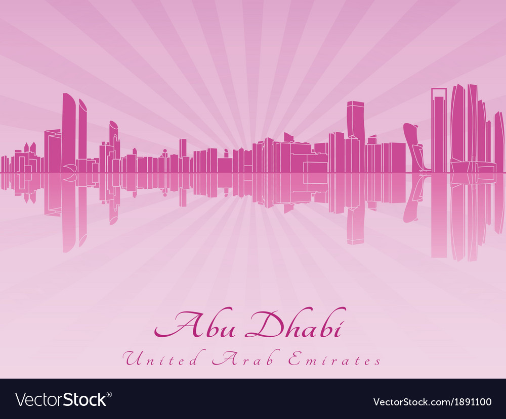 Abu dhabi skyline in radiant orchid vector | Price: 1 Credit (USD $1)