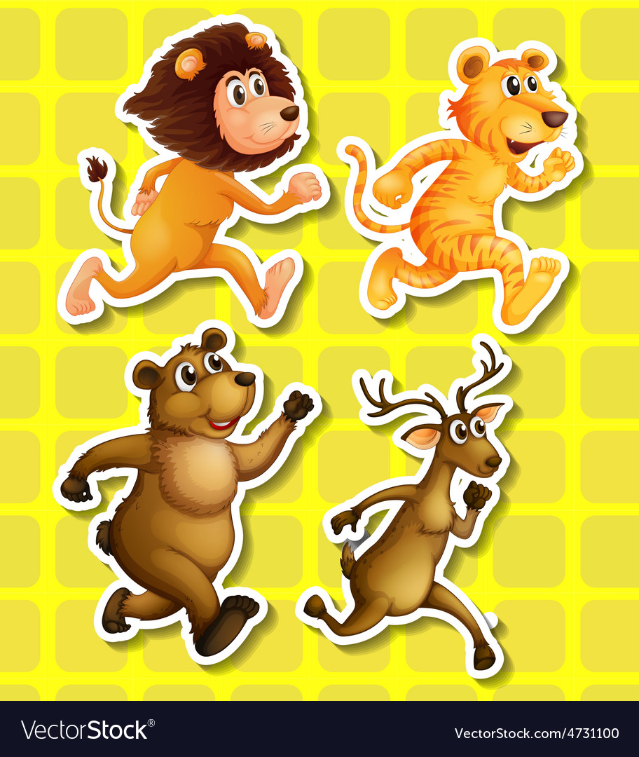 Animals running vector | Price: 1 Credit (USD $1)