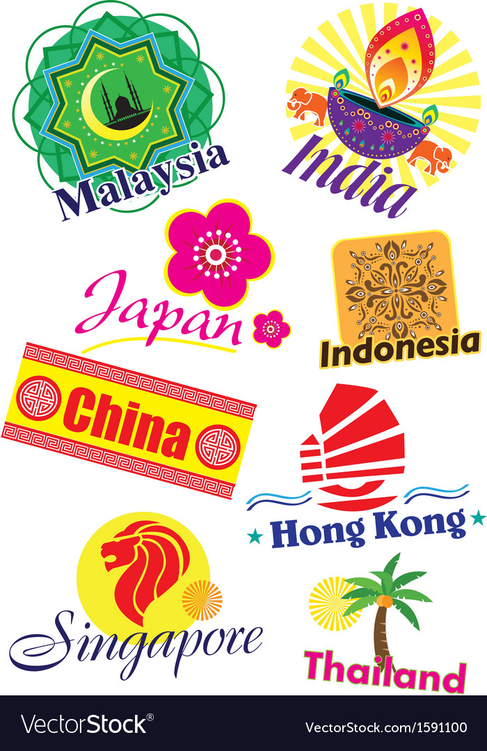 Asia country travel icon set vector | Price: 1 Credit (USD $1)