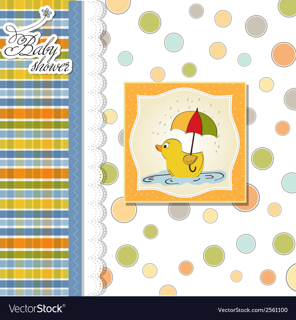 Baby shower card with duck toy vector   Price: 1 Credit (USD $1)