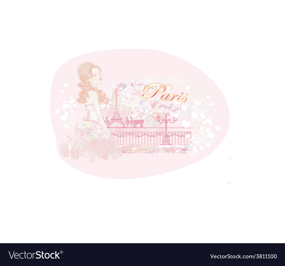 Beautiful girl portrait with tour eiffel on the vector | Price: 1 Credit (USD $1)