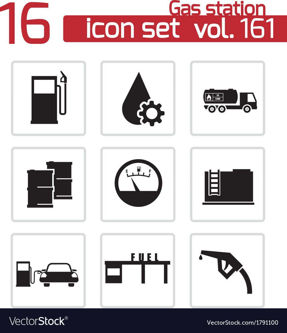 Black gas station icons set vector   Price: 1 Credit (USD $1)