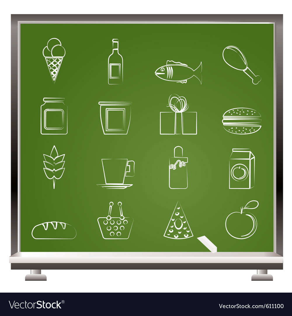 Chalk food and drink icons vector | Price: 1 Credit (USD $1)