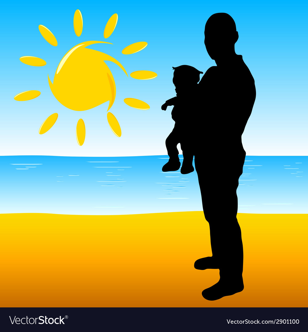 Father with a baby on the beach vector | Price: 1 Credit (USD $1)