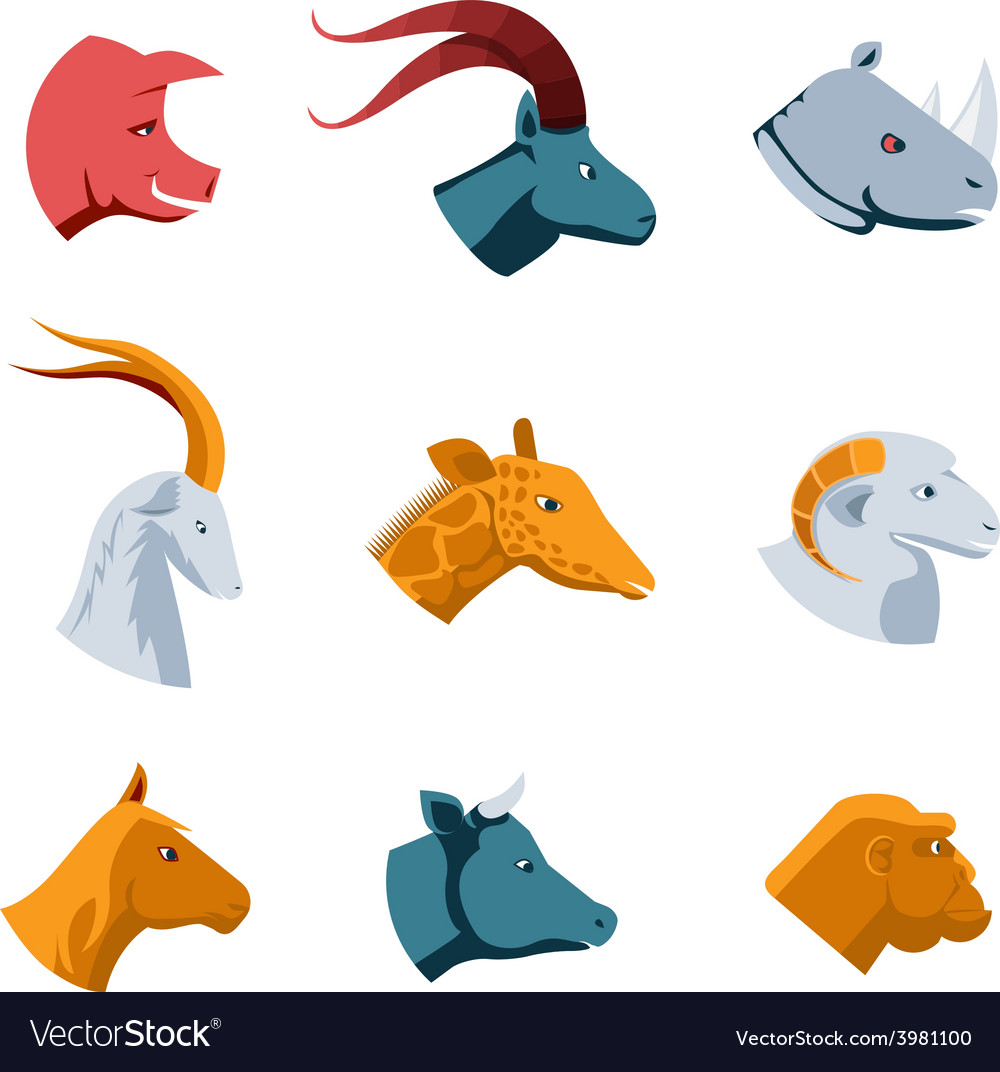 Flat designs of various animal head icons vector | Price: 1 Credit (USD $1)