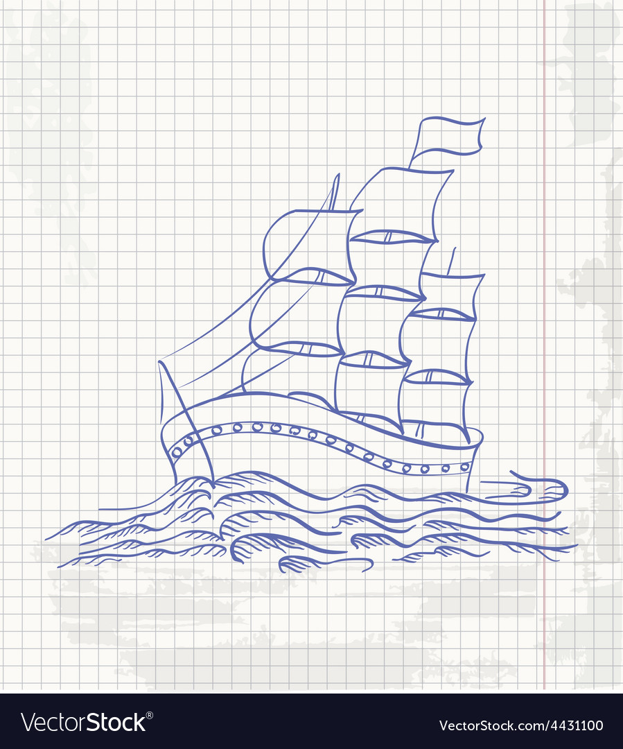 Hand drawing a sketch of a ship sailing on the vector | Price: 1 Credit (USD $1)
