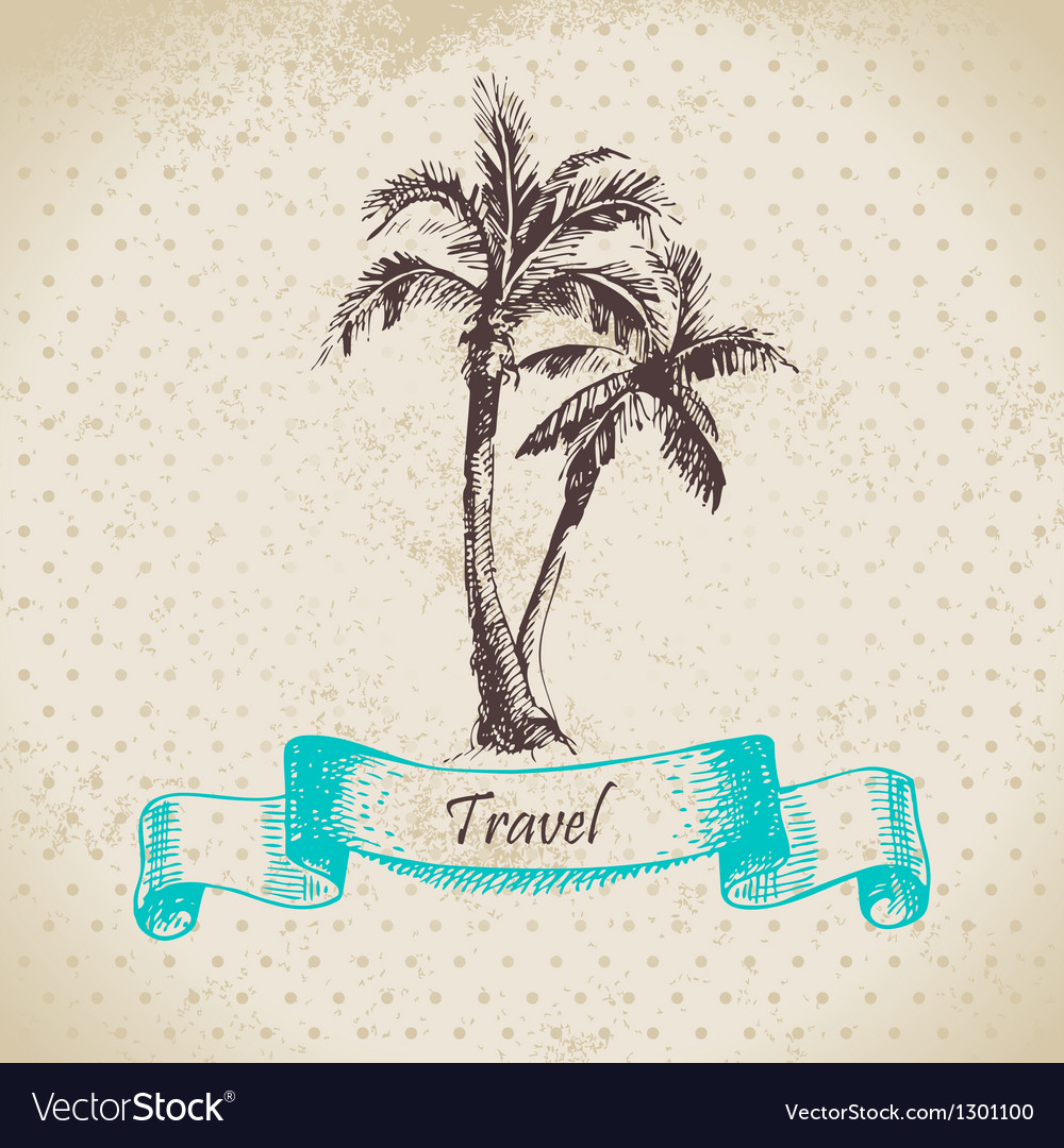 Hand drawn vintage background with palms vector | Price: 1 Credit (USD $1)