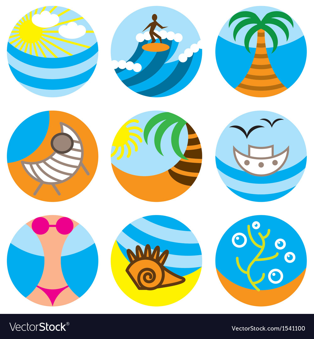 Logo icons beach vector | Price: 1 Credit (USD $1)