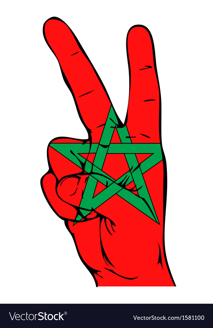 Peace sign of the moroccan flag vector | Price: 1 Credit (USD $1)