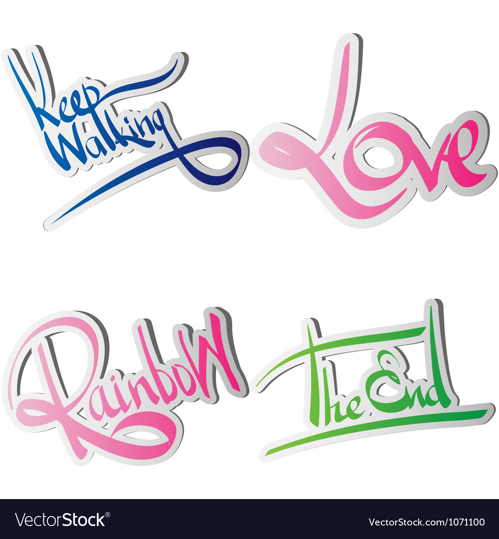 Set of various drawn and rendered lettering label vector | Price: 1 Credit (USD $1)