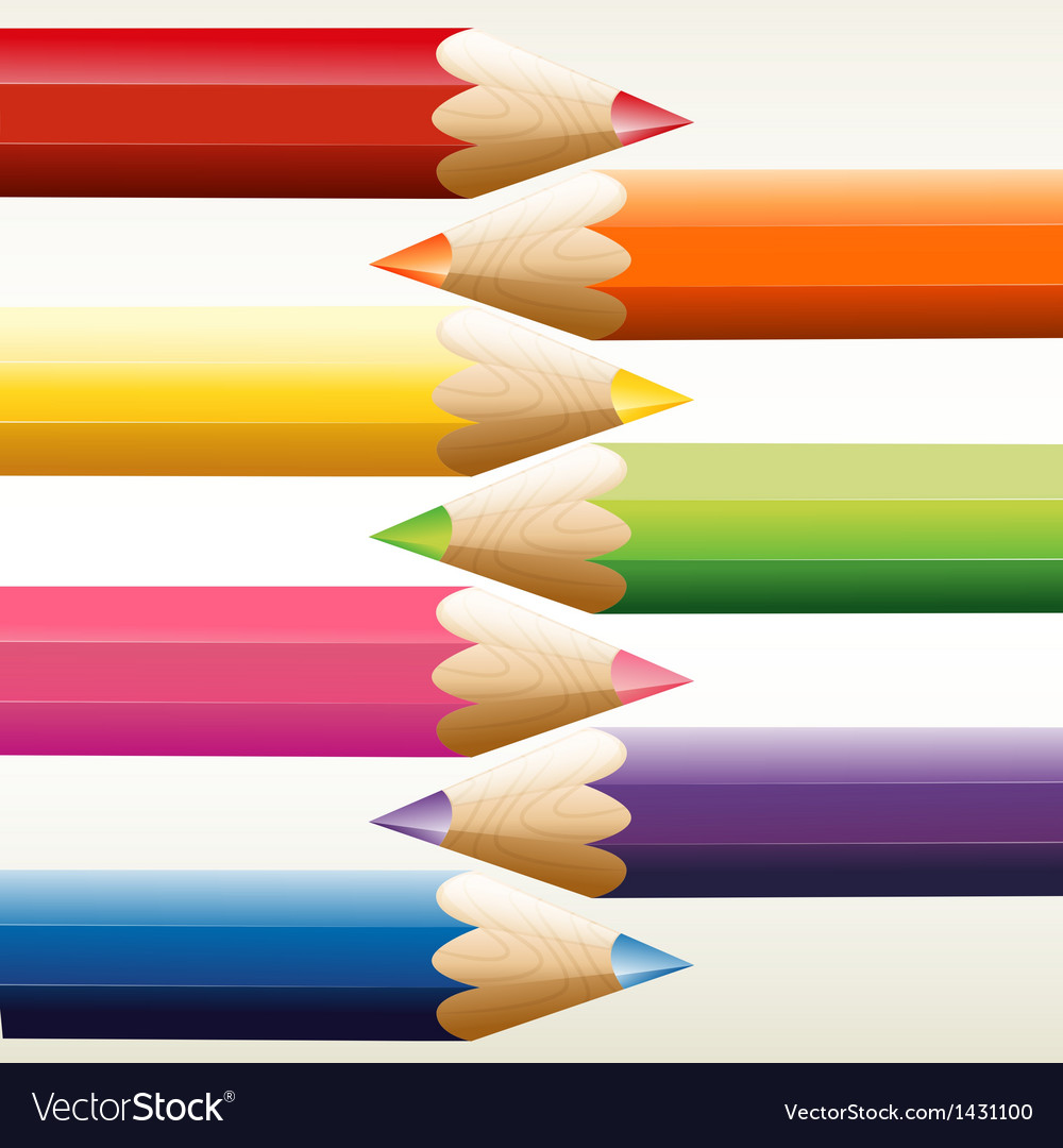 Seven colorful pointed pencils vector | Price: 1 Credit (USD $1)