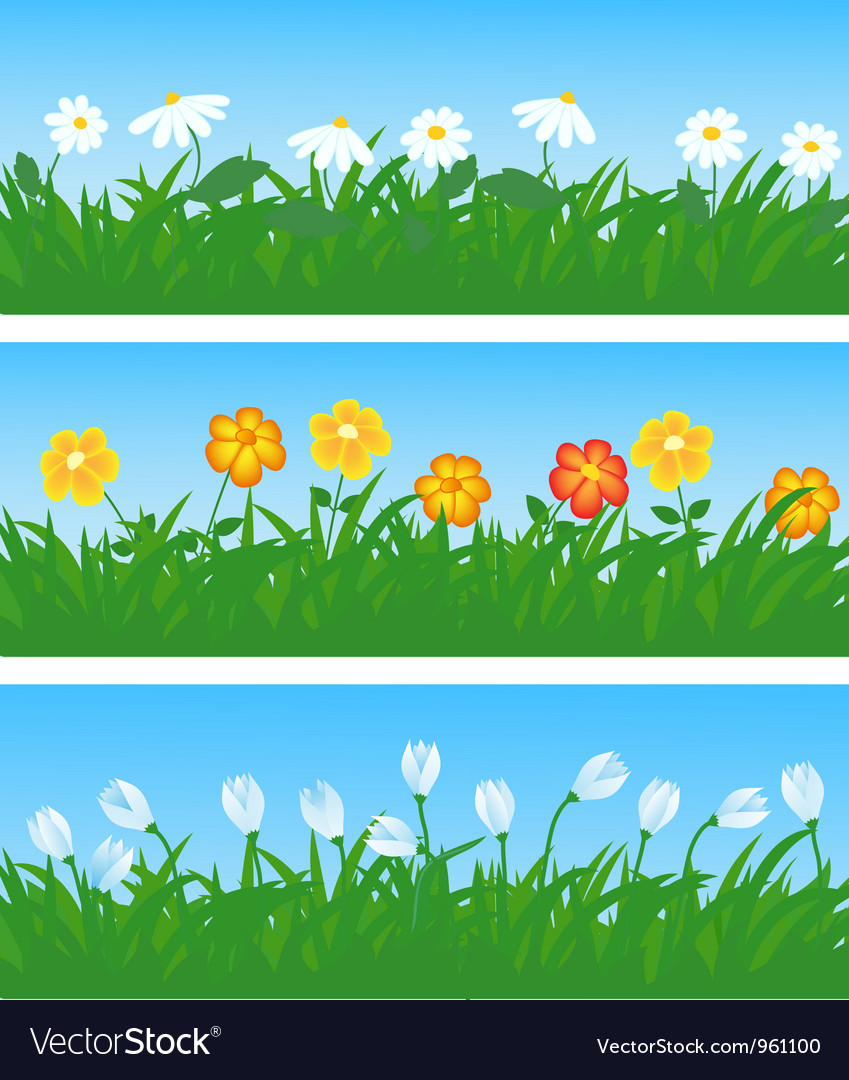 Spring flowers and grass vector | Price: 1 Credit (USD $1)