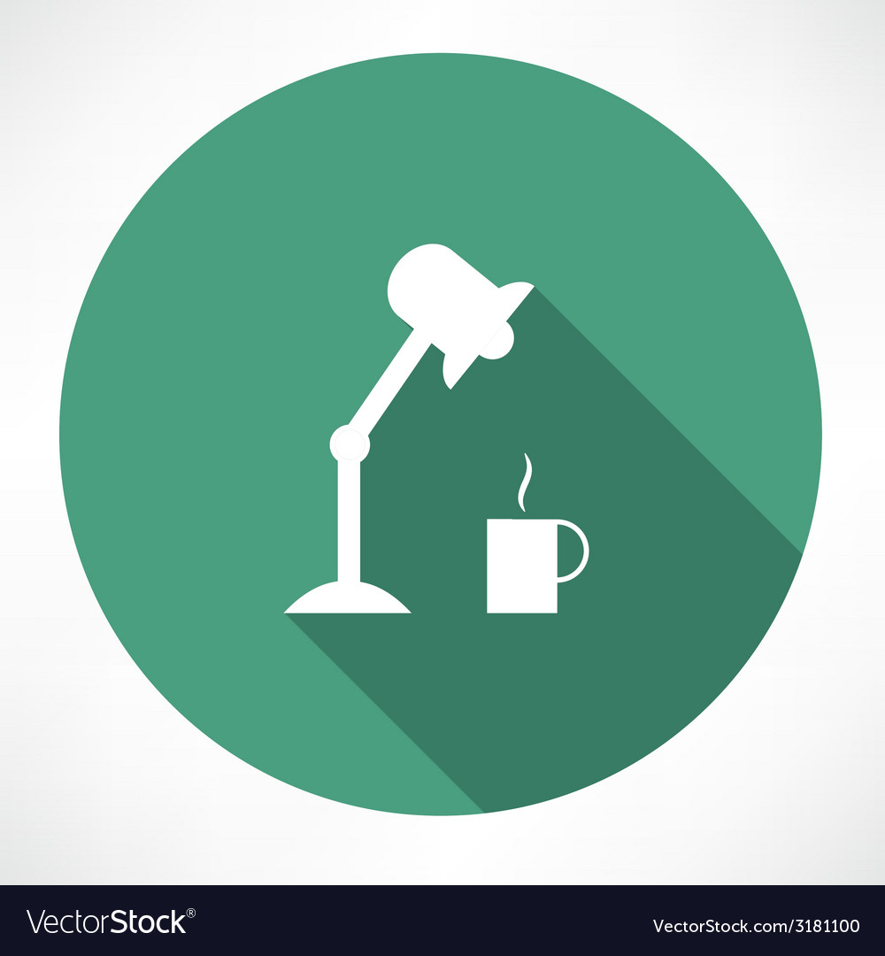 Table lamp and coffee icon vector | Price: 1 Credit (USD $1)
