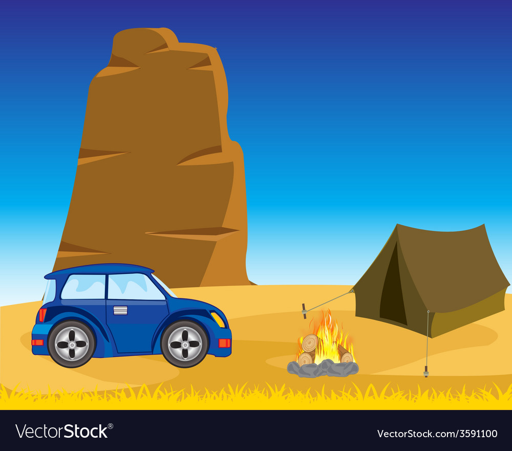 Tent with car in desert vector | Price: 1 Credit (USD $1)