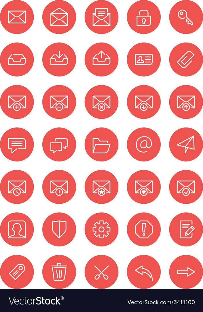 Thin line mail icons set for web and mobile apps vector | Price: 1 Credit (USD $1)