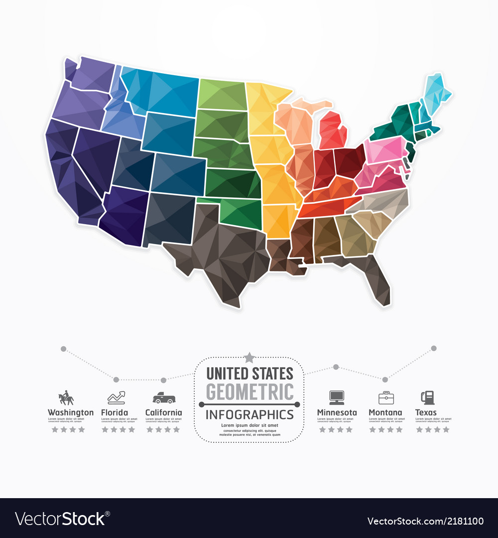 United states map infographic template geometric vector | Price: 1 Credit (USD $1)