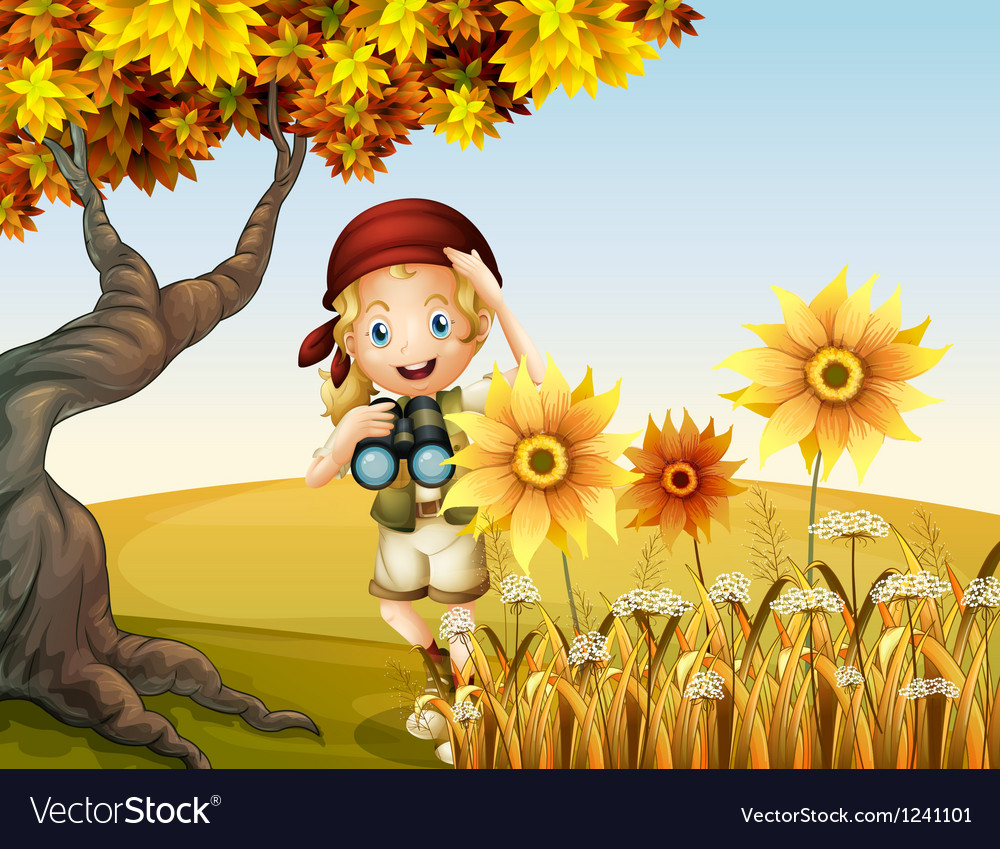 A girl holding a telescope near the sunflowers vector | Price: 1 Credit (USD $1)