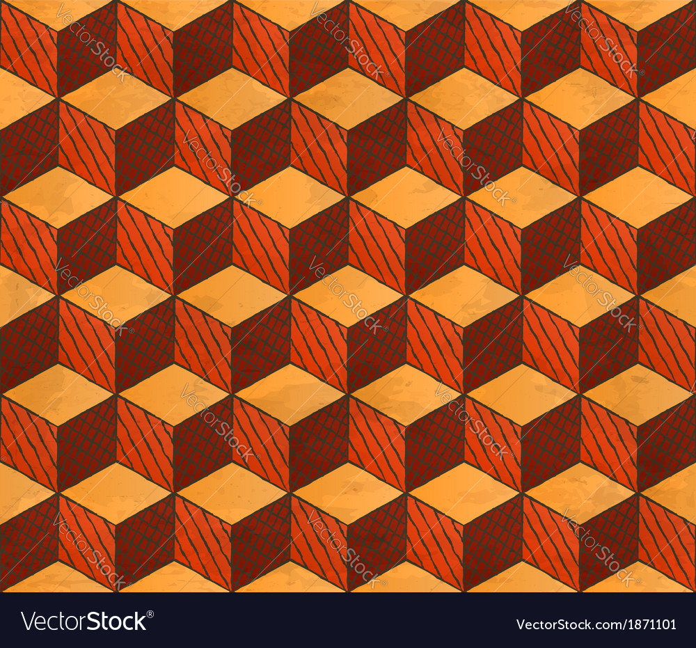 Aged drawing styled cubes puzzle seamless pattern vector | Price: 1 Credit (USD $1)