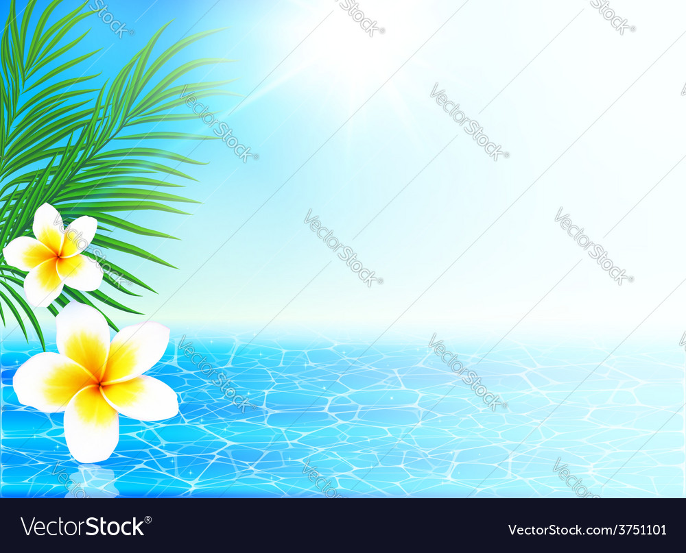 Calm sea and tropical flowers summer background vector | Price: 3 Credit (USD $3)