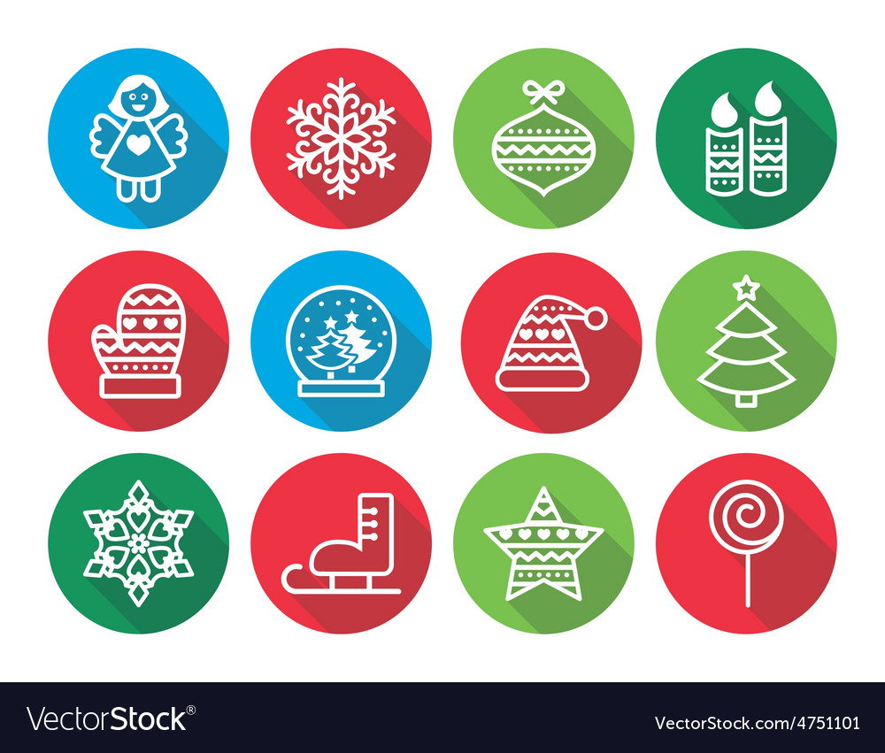 Christmas flat design icons - xmas tree angel vector | Price: 1 Credit (USD $1)