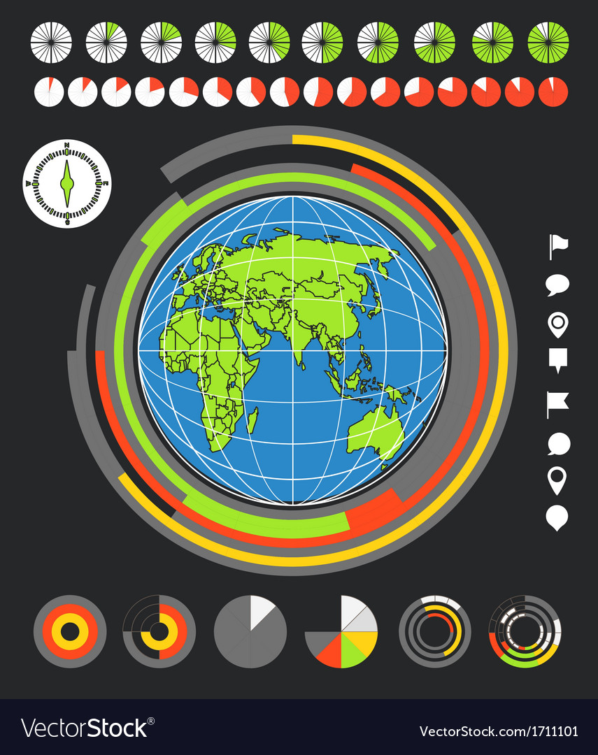 The earth and infographic elements vector | Price: 1 Credit (USD $1)