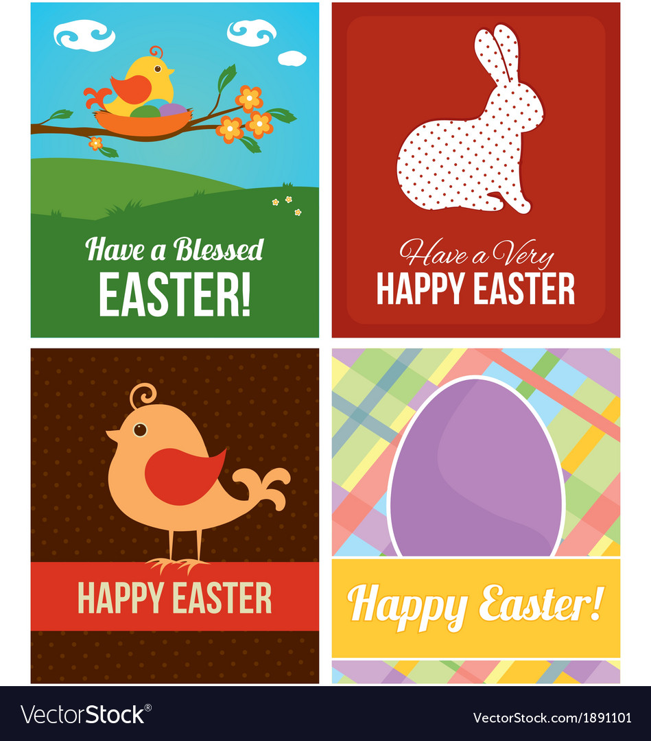 Easter cards with eggs rabbit and bird vector | Price: 1 Credit (USD $1)