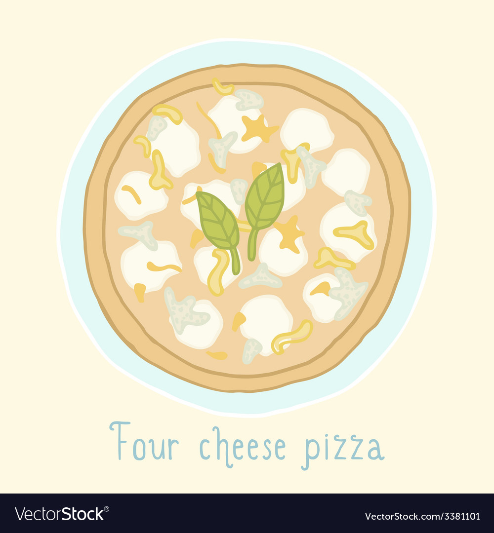 Four cheese pizza vector | Price: 1 Credit (USD $1)