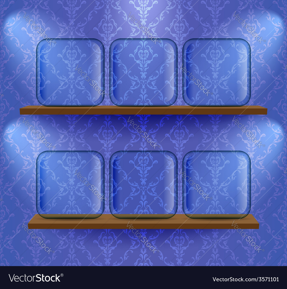 Glass placeholders on the shelves vector | Price: 1 Credit (USD $1)